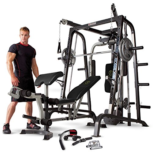 Marcy MD-9010G Home Gym Smith Machine Black - Removable Weight Bench |...
