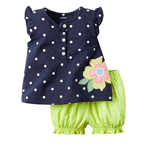 Timall Baby Girls Summer Cute Dots Vest T-shirt Tops Bloomers Pants Outfits Set