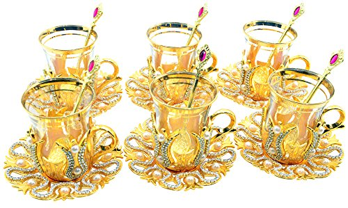 Learn More About Set of 6 Turkish Style Tea Glasses with Brass Holder Saucer and Spoons Set Silver Plated 24 Pieces – Decorated Gold