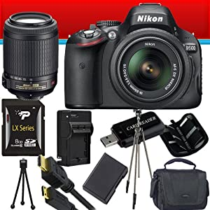 Nikon D5100 16.2MP CMOS Digital SLR Camera with 18-55mm f/3.5-5.6 AF-S DX VR Nikkor Zoom and Nikon 55-200mm f/4-5.6G ED IF AF-S DX VR Zoom-Nikkor Lenses + Nikon EN-EL14 Battery + 8GB Deluxe Accessory Kit