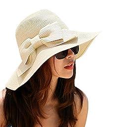OULII Fashion Foldable Women\'s Girls Sweet Bowknot Wide Brim Floppy Summer Straw Sun Hat Beach Cap (Beige)