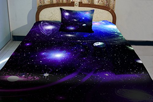 Anlye Purple Blue Teen Galaxy Bedding Designing Set 2 Sides Printing Out Space Quilt Coverlet Dark Out Space Bed Sheets With 2 Decor Pillow Covers Queen front-1046513