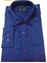 Line Shirt Men's Cotton Formal Shirt(91101_NavyBlue_40)