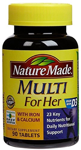 Nature Made, Multi For Her with Iron and Calcium, 90-Count Tablets (Pack of 2)