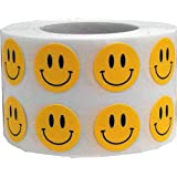 InStockLabels Smiley Face Stickers 1/2 Inch 1,000 Adhesive Stickers, Yellow