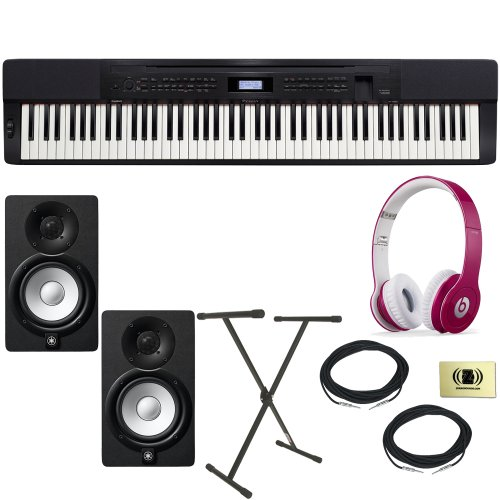 Casio Privia Px-150 Digital Piano Bundle With Beats By Dr. Dre Solo Hd On-Ear Headphones (Bubble Gum Pink), 2 Yamaha Hs5 Speakers, 2 Conquest Sound Speaker Cables, Stageline X-Style Keyboard Stand And Custom Designed Zorro Sounds Instrument Cloth
