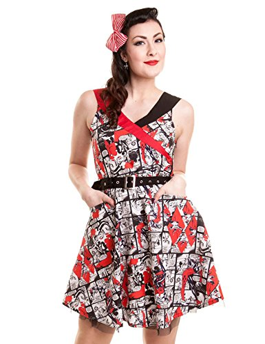 Harley Quinn Comicstrip Abito bianco/nero/rosso XL