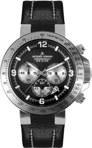 Jacques Lemans Powerchrono 09 1-1485A Gents Black Leather Strap