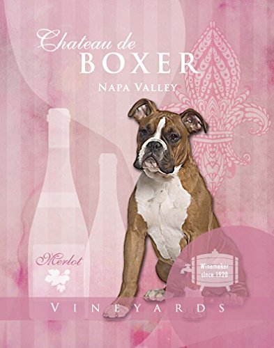 Dog Poster Boxer Wine Vineyard Company Motivational Love Vintage Cute Dog Poster Saying 11X14 Art Retro Print