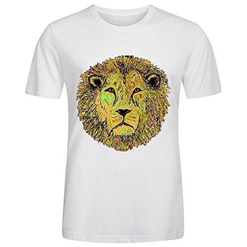 Slim O-Neck Design Tee Shirt-Neon Lion White