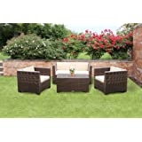 Tresco Brown Synthetic Rattan Sofa Set All Weather Garden Furnitureby Wovenhill Rattan...