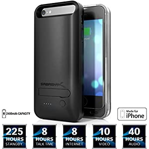 Sabrent 2400mAh MFI Apple Certified Premium Rechargeable Extended Battery Case for iPhone 5s, 5 (PB-IPH5)