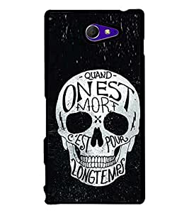Fuson Premium 2D Back Case Cover Designed Skull With Red Background Degined For Sony Xperia M2 Dual D2302::Sony Xperia M2