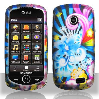 Blue Pink Yellow Neon Flower Design Snap On Rubberized Hard Skin Shell Case for Samsung A817/Solstice II
