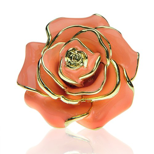 Peach Rose Cocktail Ring SZ 6