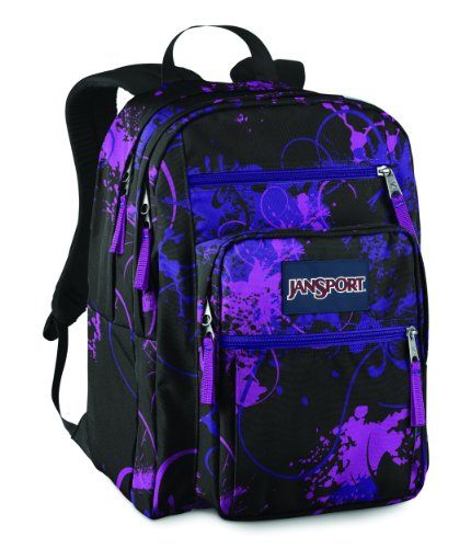 JanSport Big Student School Backpack (Black/Electric Purple Flitter)