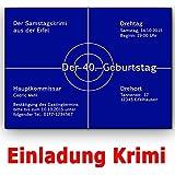 10 x Einladungskarten zum 50. Geburtstag, Tatort Zielscheibe - Flache ...