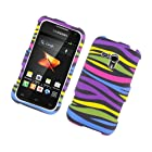 Eagle Cell PISAMM830R159 Stylish Hard Snap-On Protective Case for Samsung Galaxy Rush M830 - Retail Packaging - Rainbow Zebra