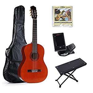 ADM 39 Inch Full Size Nylon Strings Student Beginner Classical Guitar Set, Starter Package, Beginner Kits, Redburst