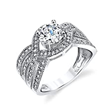 buy 925 Sterling Silver Bridal Engagement Ring Jewelry Set With Simulated Diamond Cubic Zirconias Soe025 Traditional Classic Wide Band