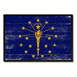 Indiana State Shabby Chic Flag Art Canvas Print Custom Picture Frame Office Wall Home Decor Gift Ideas, 19\