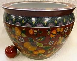 Golden Pomegranate Red Porcelain Fish Bowl 14\