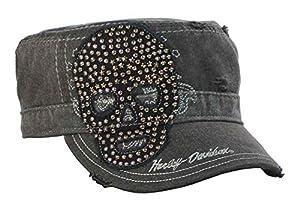 Harley-Davidson Women's Painter's Cap, Studded Star Skull, Charcoal PC10730