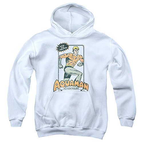Trevco Dc-Am Action Figure - Youth Pull-Over Hoodie - White, Extra Large