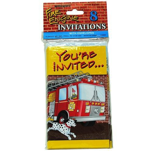Fire Engine Invitations 8 Count with envelopes