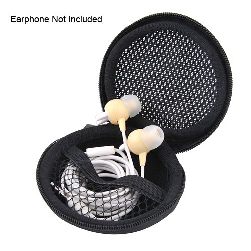 "Earphone Bag, Hard Case Mp3 Earphone Pocket Storage Bag With Mesh, Approx. Dia. 3"", Black"
