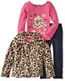 Young Hearts Girls 2-6X 3 Piece So Pretty Leopard Fur Knit Jacket Set