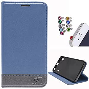 DMG PopularRaiders Premium Magnetic Wallet Flip Cover Stand Case for Lenovo A7000 (Navy Blue) + 3.5mm Jewel Dust Jack