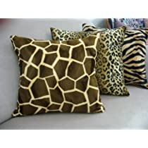 Giraffe Throw Pillow Cover in Gold & Brown.....18 x 18