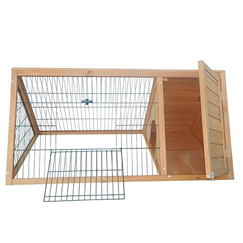 Pawhut-Outdoor-Triangular-Wooden-Bunny-Rabbit-HutchGuinea-Pig-House-with-Run