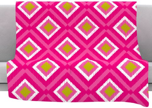 Kess Inhouse Nicole Ketchum Moroccan Hot Pink Tile Fleece Throw Blanket, 40 By 30-Inch front-962839