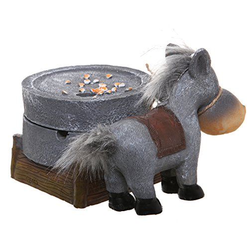Resin Donkey Design Decorative Ash Tray W Lid Ornament Novelty Smoker Collectible Brown