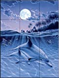 Mother and Baby Dophin by MGL Tile Mural for Kitchen Backsplash Bathroom Wall Tile Mural