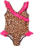 Pink Platinum Baby Girls Brown Leopard Print One Piece Swimsuit, 0/6M Brown thumbnail