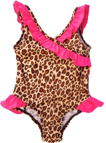 Pink Platinum Baby Girls Brown Leopard Print One Piece Swimsuit, 0/6M Brown image