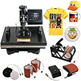 SuperDeal Pro 6in1 Combo Heat Press T-shirt Dual Digital Transfer Multifunction Sublimation Machine T-Shirt /Mug /Hat /Plate 110V (Black)