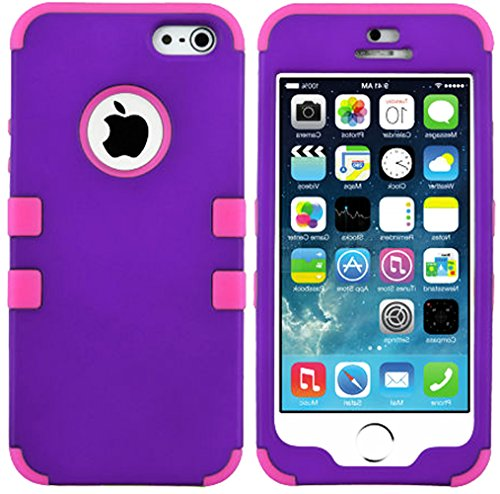Mylife (Tm) Hot Pink And Violet Purple - Classic Series (Neo Hypergrip Flex Gel) 3 Piece Case For Iphone 5/5S (5G) 5Th Generation Itouch Smartphone By Apple (External 2 Piece Fitted On Hard Rubberized Plates + Internal Soft Silicone Easy Grip Bumper Gel +