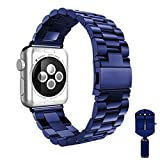Apple Watch band, VIPPLUS iWatch Band Stripe Stainless Steel Strap Wristband Replacement Bracelet with Durable Folding Metal Clasp for Apple Watch Series 3/2/1 Navy Blue 38mm