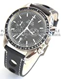 20mm Black 'Grand Prix' Leather Watch strap for Omega Speedmaster Moon watch