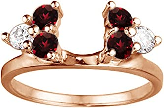 Diamond and Created Ruby Ring Wrap Enhancer set in Sterling Silver 065 ct twt
