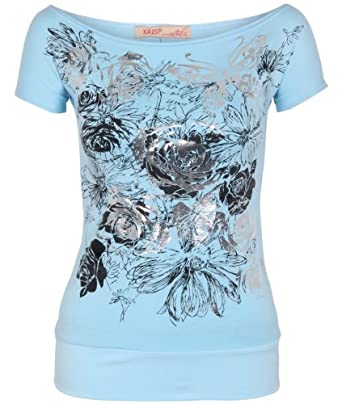 Shop Womens Butterfly Floral Foil Print Boat Neck Batwing Top T Shirt Blouse New (Aqua,8)