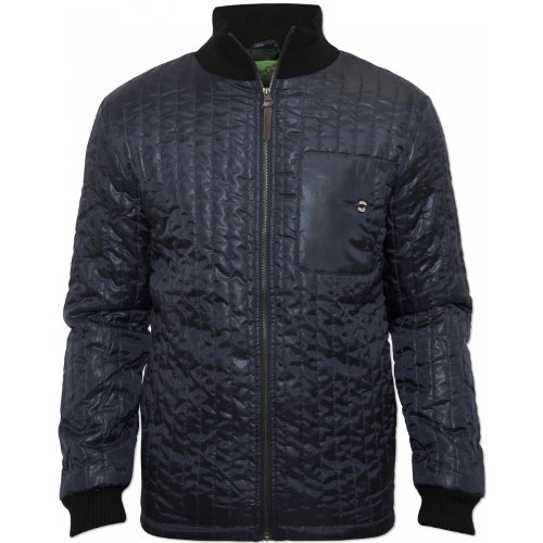 Gio Goi Mens Navy Jibe Jacket High Collar Branded Buttons Zip 100% Polyester NEW Navy X-Large