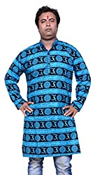 PinkCity Style Mens Kurta Blue In Cotton Fabric(XXL)