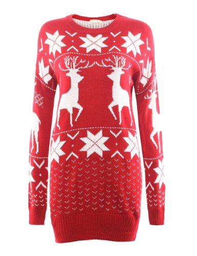Vogue of Eden Women's Oversized Christmas Deer and Maple Leaves Knitted Sweater Red