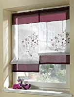 Uphome 1pcs Country Style Embroidered Flower Silk Ribbon Roman Curtain-Back Tab/Rod Pocket Sheer Window Curtain (Available in Multiple Colors and Sizes) by Uphome