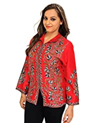 Exotic India Tomato-Red Jacket From Kashmir With Ari Hand-Embroidered Chin - Red